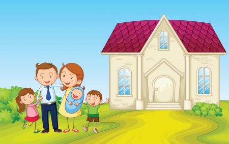 brother and sister cartoon: illustration of a family in front of house  Illustration