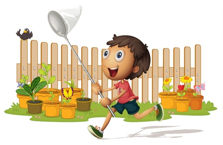chasing: illustrtion of a boy catching butterflies on white Illustration