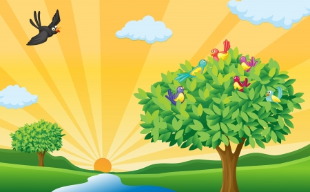 tranquil scene: illustration of tree, birds and sun rays in a beautiful nature Illustration