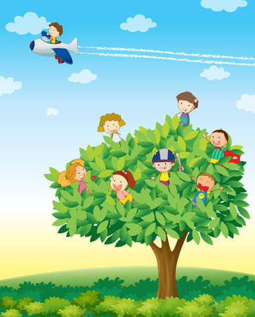 illustration of kids playing on a tree Vector