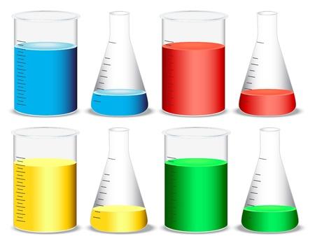 beaker: ilustración de vidrio y matraces cónicos sobre un fondo blanco