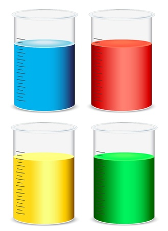 illustration of glass beakers on a white background Stock Vector - 14411777