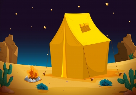 shelter: illustration of a tent house and stars in night sky