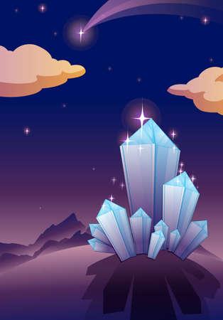 illustration of shining crystal pyramids in night sky Vector