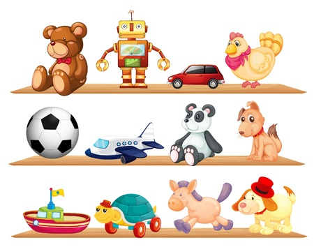 toy boat: illustration of various toys on a white background