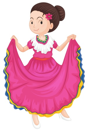 flamenco: illustration of a girl dancing traditional dress