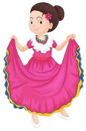 bailarina de flamenco: ilustración de una chica bailando vestido tradicional