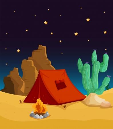 plantas del desierto: ilustración de una casa de la tienda y las estrellas en el cielo de la noche Vectores