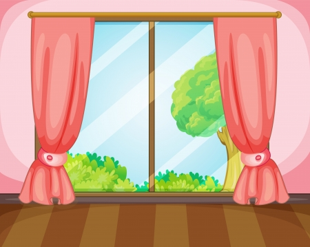 window curtains: illustration of a window and pink curtains