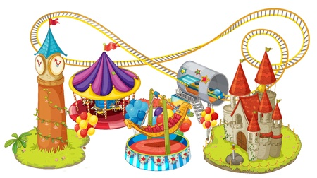 amusement park rides: illustration of funfair games on a white background Illustration