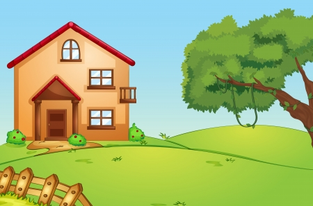 residential home: illustration of a beautiful house in green nature