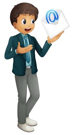 envelop: illustration of a boy holding mail envelop on a white Illustration
