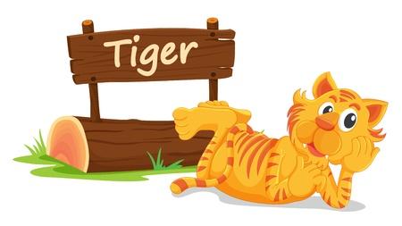 illustratie van de tijger en de naam bord op een witte