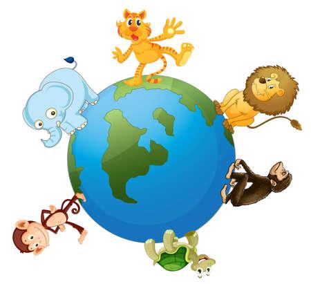 whiskar: illustration of various animals on earth globe on white Illustration