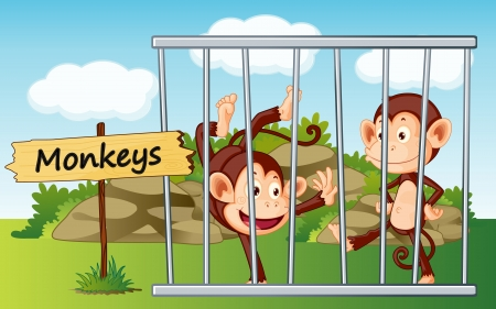 cruel zoo: illustration of a monkeys in cage and wooden board