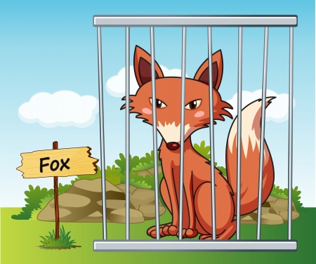 jail cell: illustration of a fox in cage and wooden board Illustration