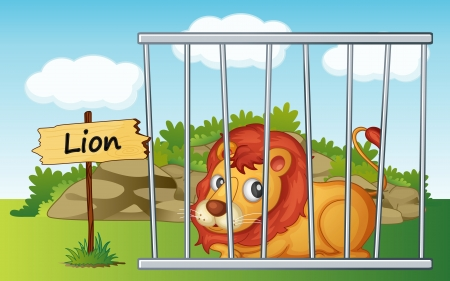cruel zoo: illustration of a lion in cage and wooden board