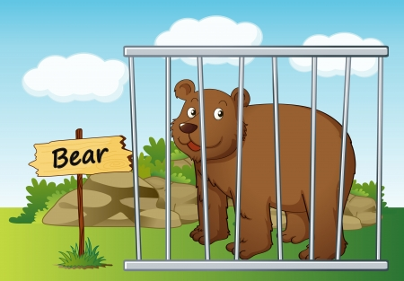 illustration of a bear in cage and wooden board Vector