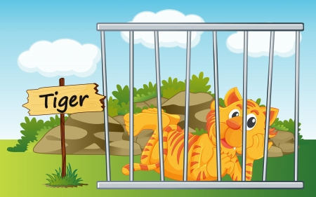 illustration of a tiger in cage and wooden board Vector