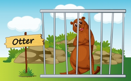 jail cell: illustration of a otter in cage and wooden board Illustration
