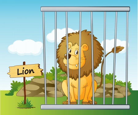 captivity: illustration of a lion in cage and wooden board
