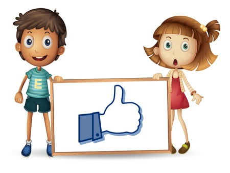 liked: illustration of kids showing thumb picture on a white