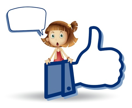 speach: illustration of girl showing thumb picture on a white