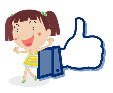 like button: illustration of girl showing thumb picture on a white