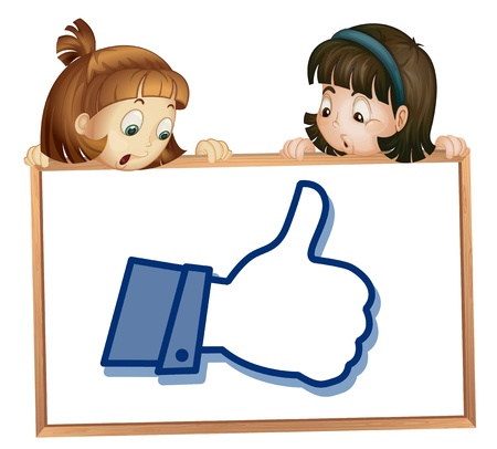 illustration of girls showing thumb picture on a white  Vector