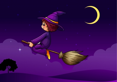 illustration of a witch flying on a broom Vector
