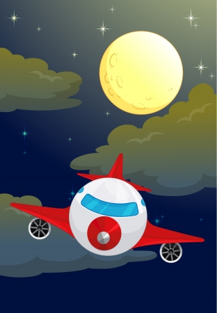 illustration of a moon and aeroplane in dark night sky Vector