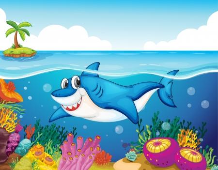 illustration of shark fish in a deep sea water Vector
