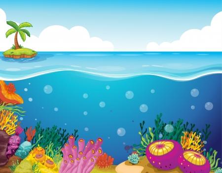 algas marinas: ilustración de palmera y coral en agua de mar profundo