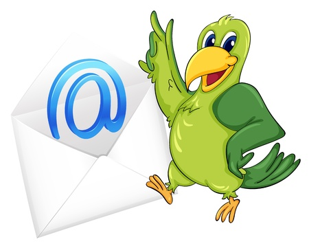 envelop: illustration of a bird with mail envelop on a white Illustration