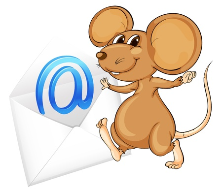 envelop: illustration of a mouse with mail envelop on a white