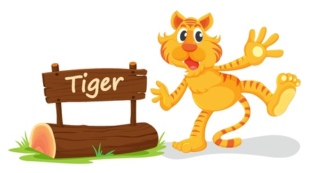 post scripts: illustration of tiger and name plate on a white