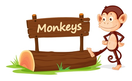 post scripts: illustration of monkey and name plate on a white