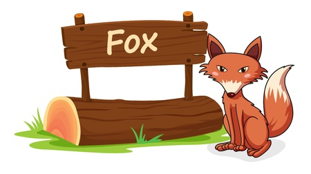 name plate: illustration of fox and name plate on a white
