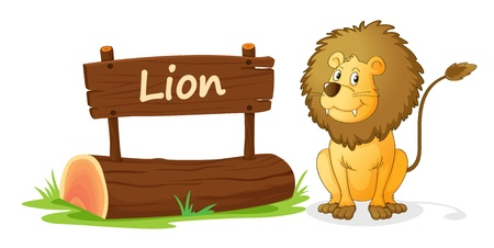post scripts: illustration of lion and name plate on a white Illustration