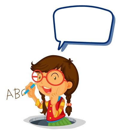 illustration of a girl writing alphabets on a white background Vector