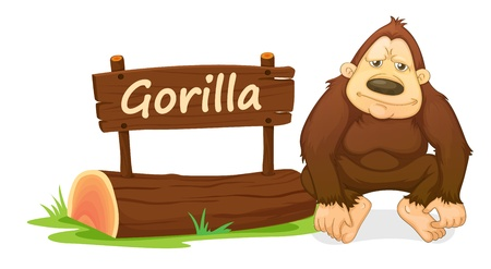 illustration of gorilla and name plate on a white Vector