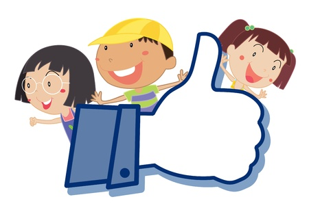 illustration of kids showing thumb picture on a white  Stock Vector - 14764543