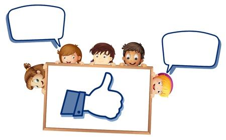 niños platicando: ilustración de los niños que muestran imágenes de oro sobre un fondo blanco