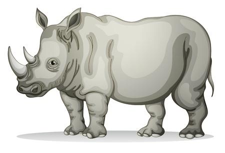 Ilustración de un rinoceronte en un fondo blanco Ilustración de vector