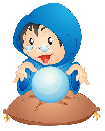 illustration of a woman with magic globe on a white Vector