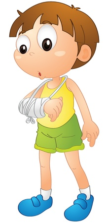 cartoon accident: illustration of a boy on a white background