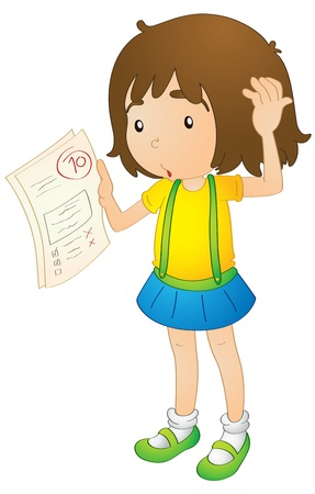 corrections: illustration of a girl on a white background