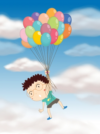 illustration of a boy playing with balloons in the sky Vector