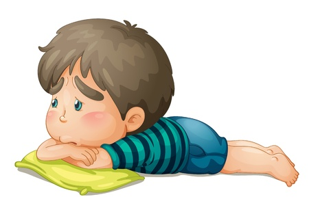 laying little: illustration of a boy on a white background