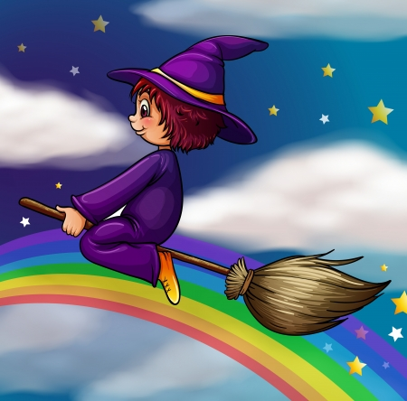bewitched: illustration of a witch flying on broom in dark night